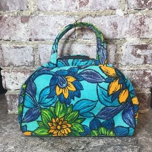 1940s TRUE VINTAGE floral purse Sunflowers Blue